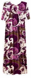 SOLD OUT! CLEARANCE! Beautiful Purple Mod Floral Button Top Slinky Dress 6x