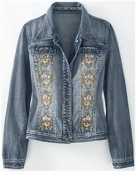 SOLD OUT! CLEARANCE! Beautiful Rhinestone & Embroidered Plus Size Denim Jean Jacket 24w 3x