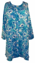 SOLD OUT! CLEARANCE! Beautiful Turquoise Blues Floral Abstract Plus-Size Button Down Long Sleeve Top 5x