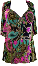 SOLD OUT! CLEARANCE! Black Colorful Slinky Tie Babydoll Plus Size Supersize Shirts XL