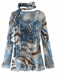 SOLD OUT! CLEARANCE! Black Graphite Ruby Teal or Animal Print Plus Size Sheer Mesh Tee with Scarf 2x 3x