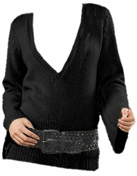 SOLD OUT! CLEARANCE! Black Low Cut V-Neck Plus Size Sweater 3x