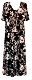 SOLD OUT! CLEARANCE! Black & Off White Floral Slinky Plus Size Dress 1x