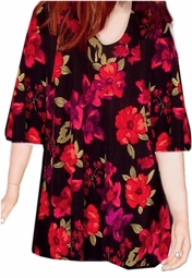 SOLD OUT! CLEARANCE! Black Red & Magenta Floral Slinky Plus Size Supersize Slinky Shirt 6x
