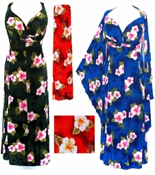 SOLD OUT! CLEARANCE! Black, Red or Blue Tropical 2pc Princess Cut Dresses 2x/3x