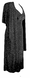 SOLD OUT! CLEARANCE! Black & Silver 2pc Princess Cut Dress & Wrap 1x/2x
