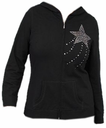 SOLD OUT! CLEARANCE! Black & Silver Rhinestone Shooting Star Plus Size Hoodie 26/28 3x