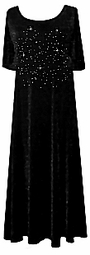 SOLD OUT! CLEARANCE! Black & Silver Rhinestone Smooth Stretch Velvet A-Line Plus Size Dress 1x/2x Extra Long!