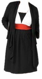 SOLD OUT!!! CLEARANCE! Black White & Red Plus Size Colorblock Dress With Jacket.