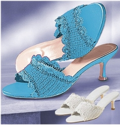 SOLD OUT! CLEARANCE! Blue Crocheted Raffia Slide Shoes 9