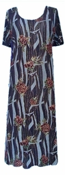 SOLD OUT! CLEARANCE! Blue Gold & Red Roses Slinky Plus Size Supersize Dress 4x 5x Extra Long!