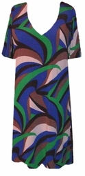 SOLD OUT! CLEARANCE! Blue Green White & Brown Swirly Plus Size Supersize Slinky Shirt 9x