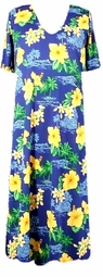 SOLD OUT! CLEARANCE! Blue Tropical Print Slinky Plus Size Supersize Dress 4x/5x