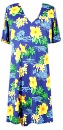 SOLD OUT! CLEARANCE! Blue Tropical Print Slinky Plus Size Supersize Shirt 3x/4x