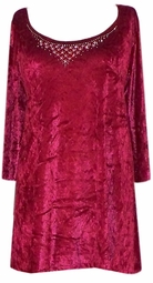 SOLD OUT! CLEARANCE! Burgundy Crush Velvet Rhinestone Plus Size Shirt 4x