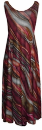 SOLD OUT! CLEARANCE! Burgundy Green Gray Abstract Slinky Plus Size & Supersize Princess Cut Dress 1x/2x