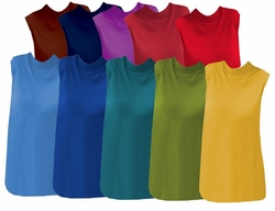 SOLD OUT! CLEARANCE! Casual Plus-Size Brown Navy Purple Wine Red Light Blue Royal Teal Celery or Yellow Sleeveless Mock Turtleneck 4x 5x 6x