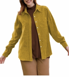 SOLD OUT! CLEARANCE! Casual Plus-Size Yellow Long Sleeve Moleskin Button Down Shirt 3x