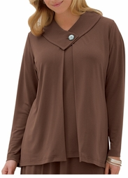 SOLD OUT! CLEARANCE! Casual Plus-Sized Mocha One Button Mock Top 4x