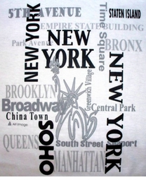 SOLD OUT! CLEARANCE! Cities of New York on White Plus-Size Cotton T-Shirt 4XL 6XL