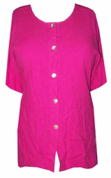 SOLD OUT! CLEARANCE! Cute Hot Pink Island Heat Short Sleeve Button Down Plus Size Top 1x