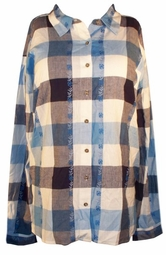 SOLD OUT! CLEARANCE! Cute Navy Grey Blue & White Plaid Button Down Shirt with Floral Embroidery 5x