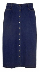 SOLD OUT! CLEARANCE! Dark Blue Denim Button-Down Plus Size Cherokee Skirt 3x