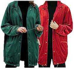 SOLD OUT! CLEARANCE! Dk Teal Green or Red Reversible Velour to Nylon Plus Size Supersize Coat 5x