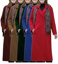 SOLD OUT! CLEARANCE! Elegant Plus-Sized Long Wool-Blend Reefer Coat with Paisley Scarf Many Colors! 30w  32T