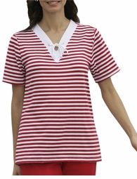 SOLD OUT! CLEARANCE! Fun Plus-Sized Red and White Striped Nautical V-Neck Top 4x