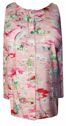 SOLD OUT! CLEARANCE! Gorgeous Pink Peachy Japanese Animals Landscape Lida Caputo Plus Size Top 5x