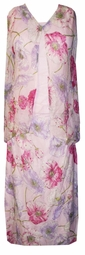 SOLD OUT! CLEARANCE! Gorgeous Sheer Pastel Pink with Floral Plus Size 3 Piece Set 3x