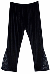 SOLD OUT! CLEARANCE! Hot! Black Velvet & Lace Gothic Plus Size Super Size Pants! 4x