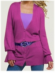 SOLD OUT! CLEARANCE! Hot Fuschia Pink Plus Size Cardigan V-Neck Sweater 3x