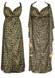 SOLD OUT! CLEARANCE! Leopard Mock Suede 2pc Princess Cut Dresses 1x/2x