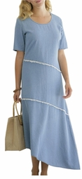 SOLD OUT! CLEARANCE! Light Blue Denim Plus-Size Fashionable Assymentrical Dress 30wp