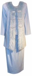 SOLD OUT! CLEARANCE! Light Blue Faux Fur & Rhinestone! 3 Piece Top Jacket & Skirt Set 3x