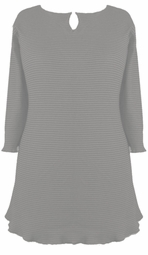 SOLD OUT !!!!CLEARANCE! Light Gray Ribbed Half Sleeve Plus Size Shirts 1x