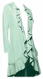 SOLD OUT!!!CLEARANCE! Long Mint Green Cascading Ruffled Plus Size Jacket 3x/24w