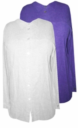 SOLD OUT!!!!!!!!!!!CLEARANCE! Lovely Avalanche White or Eggplant Purple Long Sleeve Button Down Plus Size Top 2x