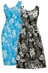 SOLD OUT! CLEARANCE! Lovely Blue or Black Plus Size Supersize Print Sundress 3x