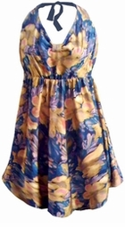 SOLD OUT! CLEARANCE! Lovely Blue Pink & Yellow Floral Graphic Plus Size & Supersize Halter 2pc Swimdress 5x ** Flawed - CLEARANCE!!
