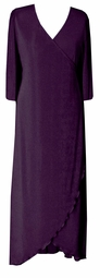 SOLD OUT! CLEARANCE! Lovely Dark Purple Slinky Baby Ribbed Cascading Plus Size Wrap Dress 7x