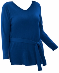 SOLD OUT! CLEARANCE! Lovely Plus-Sized Royal V-Neck Sweater with Self-Tie Belt 3x