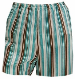 SOLD OUT! CLEARANCE! Lovely Plus-Sized Turquoise Striped Silky Sleep Short 5x