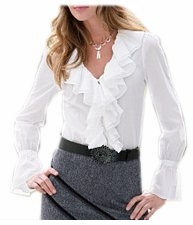 SOLD OUT! CLEARANCE! Lovely White Plus-Size Ruffle-Trim Button Down Long Sleeve Top 3x