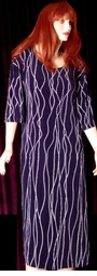 SOLD OUT! CLEARANCE! Navy Blue & White Chains Slinky Plus Size Dresses Large