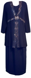 SOLD OUT! CLEARANCE! Navy & Silver Rhinestone 3pc Jacket - Top & Skirt Set 4x 5x