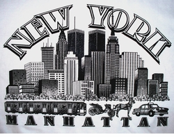 SOLD OUT! CLEARANCE! New York Manhattan View on White Plus-Size Cotton T-Shirt 4XL