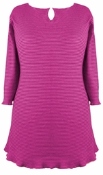 SOLD OUT! CLEARANCE! Pink Ribbed Half Sleeve Plus Size Shirts 0x